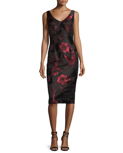 Sleeveless V-Neck Floral Sheath Dress, Red/Black