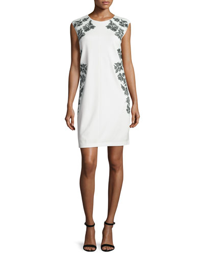 Cap-Sleeve Floral-Embroidered Dress, Warm White