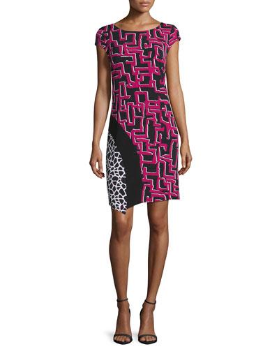 Cap-Sleeve Mixed-Print Sheath Dress, Vivid Pink