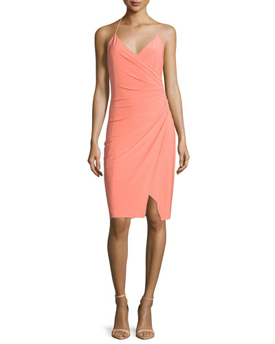 Racerback Faux-Wrap Dress, Fresh Salmon