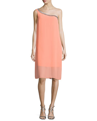 Embellished One-Shoulder Shift Dress, Fresh Salmon