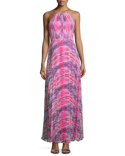 Halter-Neck Plisse-Skirt Gown, Chrome