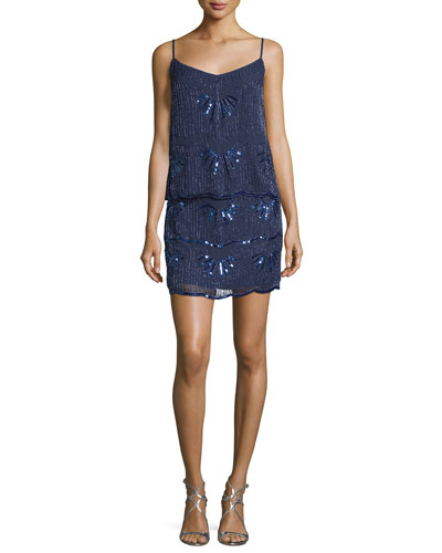 Sleeveless Embellished Popover Dress, Inkblot