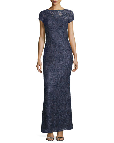 Cap-Sleeve Bateau-Neck Lace Gown, Midnight