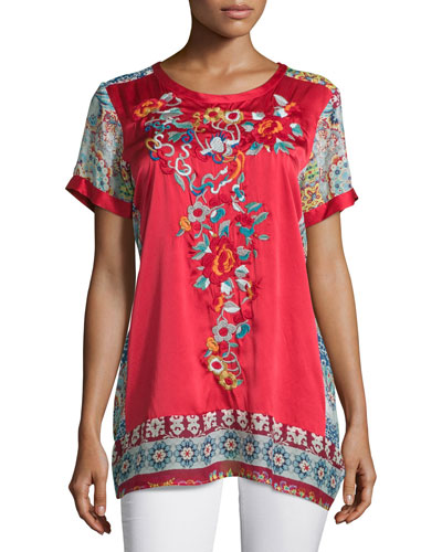 Yokito Embroidered Combo Tunic, Red/Multi