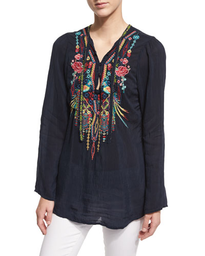 Serendipity Embroidered-Bib Blouse, Navy Shadow
