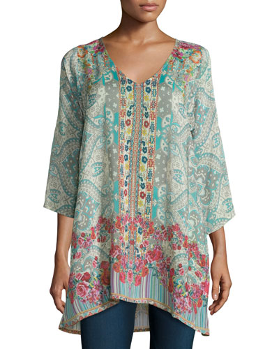 Tappa 3/4-Sleeve Mixed-Print Tunic, Multi Colors
