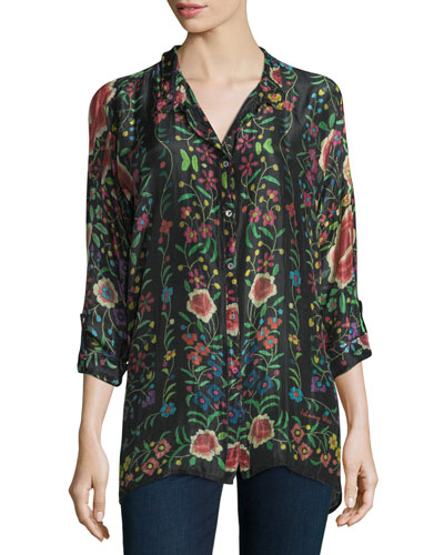 Emby Button-Front Floral-Print Blouse, Black/Multi, Petite