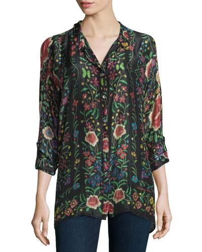 Petite Emby Button-Front Floral-Print Blouse, Black/Multi