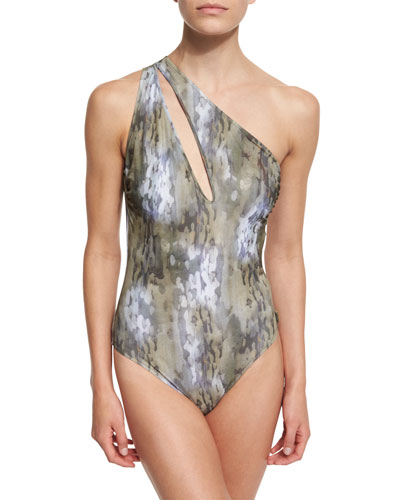 One-Shoulder Camo-Print One-Piece Swimsuit