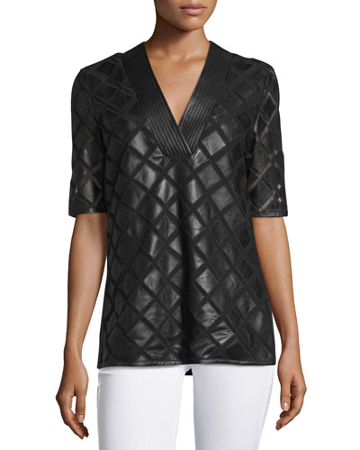 Diamond Laser-Cut Leather Tunic, Black