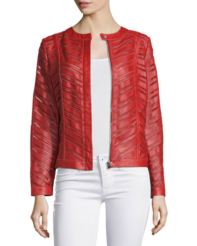 Striped Leather Jacket, Red
