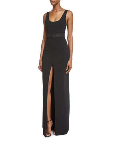 Tara Belted Stretch Crepe Maxi Dress, Black
