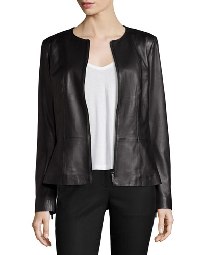 Jewel-Neck Leather Peplum Jacket, Black