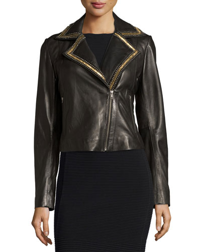 Beaded-Lapel Cropped Leather Moto Jacket, Black