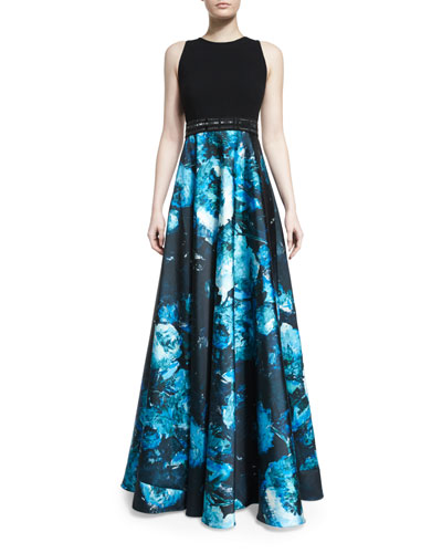 Sleeveless Wool & Floral Satin Combo Gown, Black/Turquoise