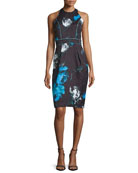 Sleeveless Floral Cocktail Dress, Black/Turquoise