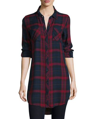 Button-Front Plaid Boyfriend Long Shirt, Red/Multi, Plus Size