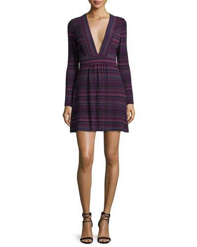 Paxton V-Neck Mini Dress, Juniper Stripe