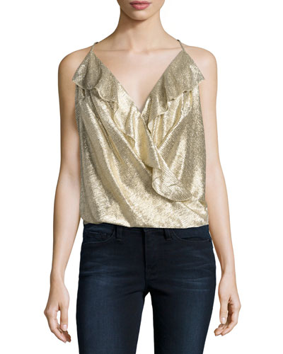 Kristin Metallic Ruffle Top