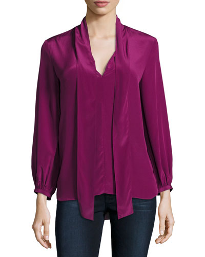 Francesca Tie-Neck Silk Top