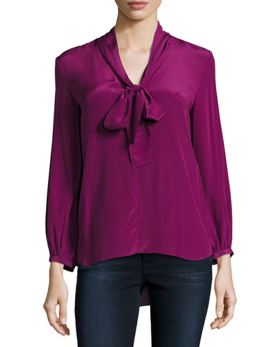Francesca Tie-Neck Silk Top