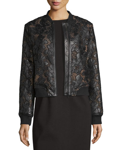 Floral Leather Lace Bomber Jacket, Black/Pink