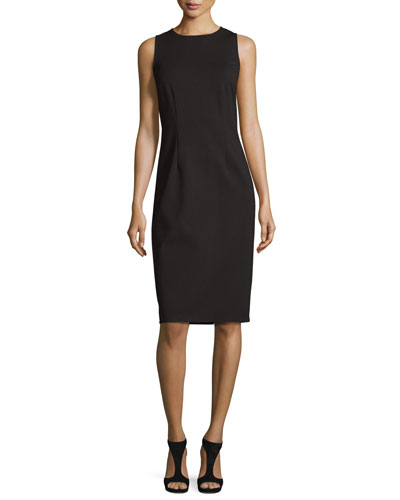 Sleeveless Jewel-Neck Ponte Sheath Dress, Black