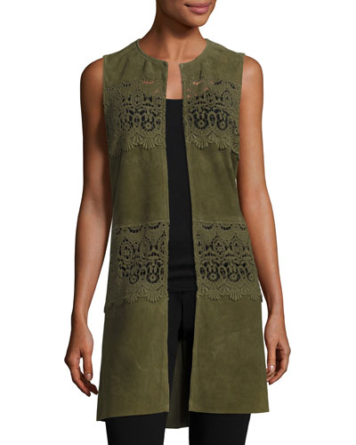 Long Suede & Lace Topper Vest, Olive
