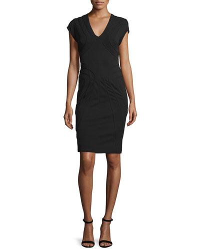 Cap-Sleeve Sheath Dress, Black