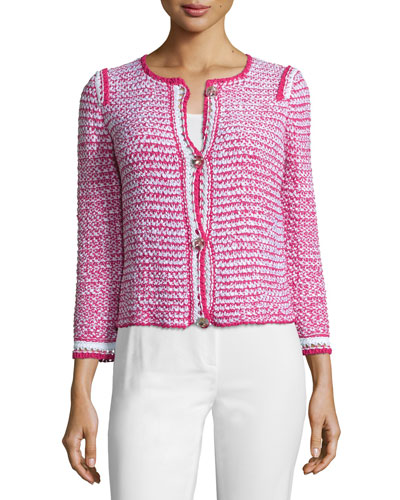 Bracelet-Sleeve Button-Front Jacket, Blossom
