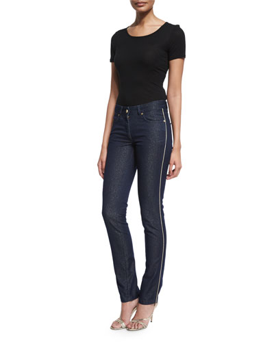 Mid-Rise Shimmery Skinny Jeans, Dark Blue