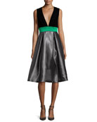 Sleeveless Colorblock Combo Dress, Moonstone
