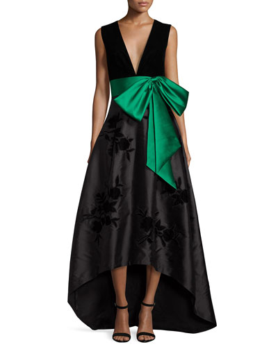 Sleeveless High-Low Combo Gown, Onyx