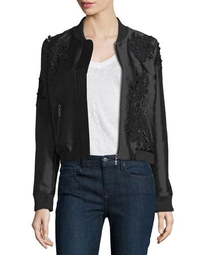 Lace-Trim Bomber Jacket, Onyx