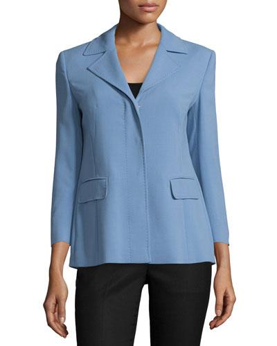 3/4-Sleeve Notch-Lapel Jacket, Sky