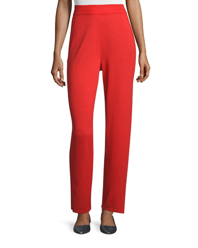 High-Waist Straight-Leg Pants, Red Poppy