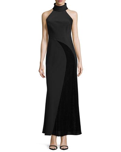 Sleeveless Crepe & Chiffon Gown, Black