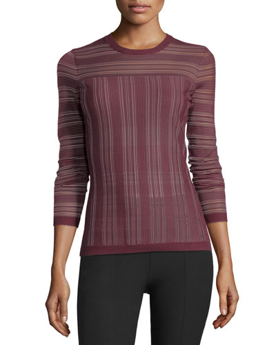 Two-Way Street Sheer Striped Sweater, Plum