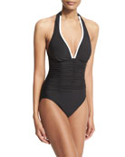 Kara Contrast-Trim Halter One-Piece Swimsuit, Black