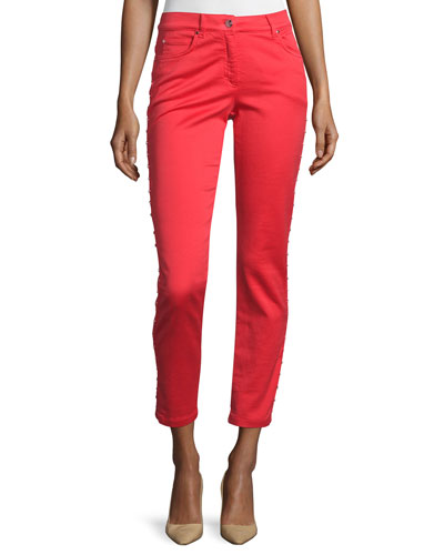 Low-Rise Skinny Cropped Jeans, Red Poppy
