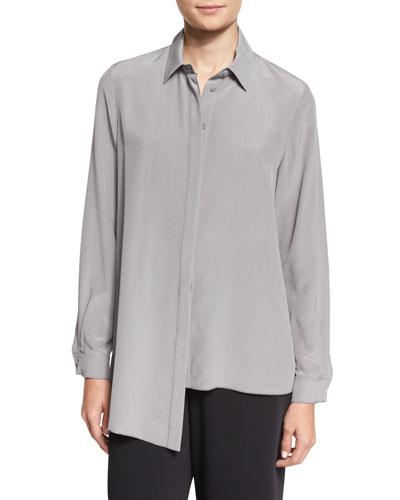 Long-Sleeve Asymmetric-Hem Silk Blouse, Medium Gray