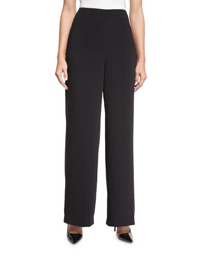 High-Waisted Full-Leg Pants, Black