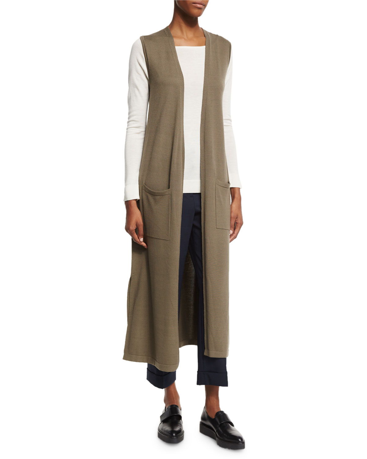 Torina Sl Refine Sleeveless Cardigan, Moss