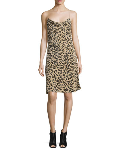 Jessa Leopard-Print Bias-Cut Slip Dress