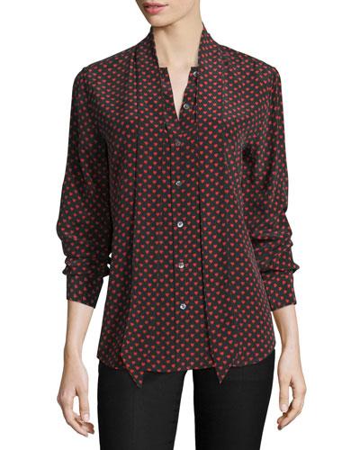 Slim Signature Heart-Print Tie-Neck Shirt