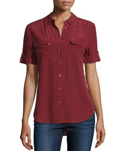 Short-Sleeve Slim Signature Silk Blouse, Burnt Scarlet