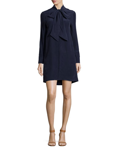 Leema Tie-Neck Silk Shift Dress, Peacoat