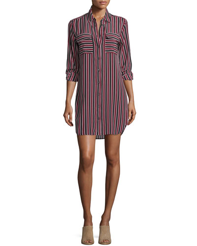 Slim Signature Striped Silk Shirtdress