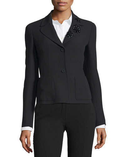 Embellished Collar Two-Button Jacket, Black